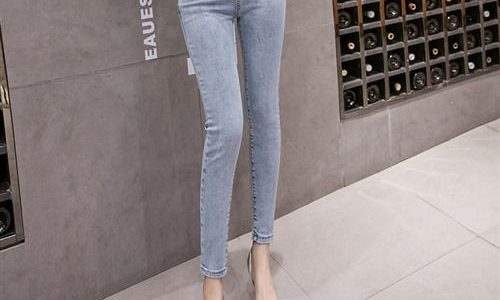 新款牛仔九分长裤修身紧身弹力个性装饰小脚高腰铅笔裤1521#