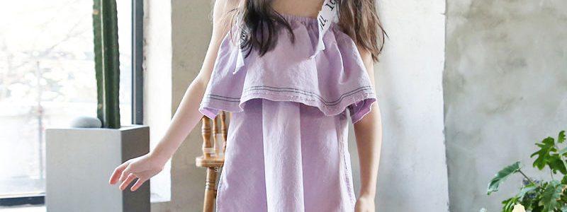夏款韩版童装荷叶边女童背带连衣裙一字肩沙滩裙母女度假亲子装