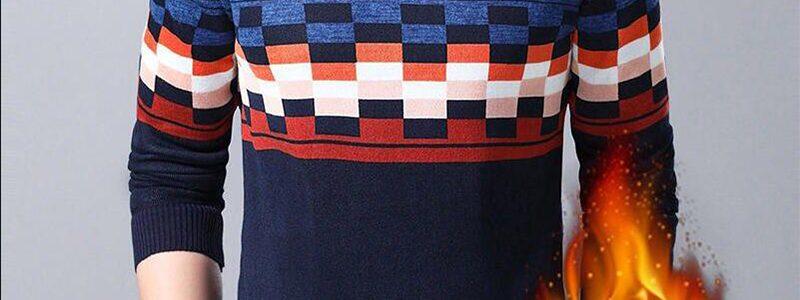 花花公子贵宾冬季男士毛衣男圆领条纹加绒加厚保暖衣服针织衫