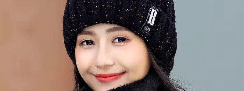 加绒韩版帽子女冬季毛线帽百搭学生骑车保暖围脖防寒时尚针织帽